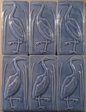 "Set Of Two 3""x6"" Heron Ceramic Handmade Tiles - Watercolor Blue Glaze grouping"