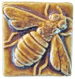 "Honey Bee 2""x2"" Ceramic Handmade Tile - Honey Glaze"