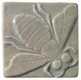 "Honey Bee 3""x3"" Ceramic Handmade Tile - Celadon Glaze"