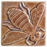 "Honey Bee 3""x3"" Ceramic Handmade Tile - Honey Glaze"