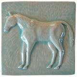 "Horse 2 (facing Left) 6""x6"" Ceramic Handmade Tile - Pacific Blue Glaze"