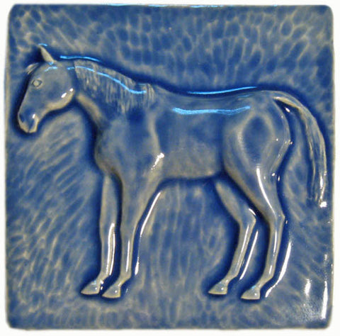 "Horse 2 (facing Left) 6""x6"" Ceramic Handmade Tile - Watercolor Blue Glaze"