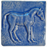 "Horse 2 (facing Right) 6""x6"" Ceramic Handmade Tile - Watercolor Blue Glaze"