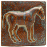 "Horse 1 (facing Right) 6""x6"" Ceramic Handmade Tile - Autumn Glaze"