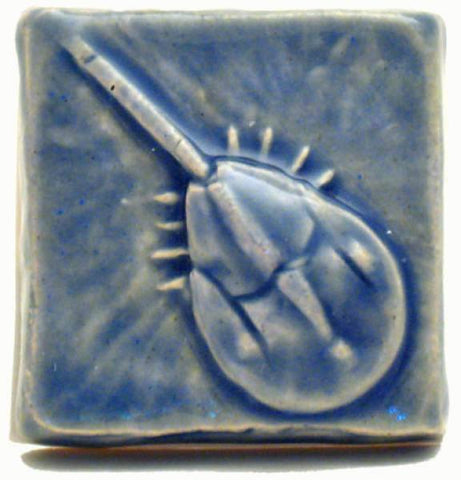 "Horse Shoe Crab 2""x2"" Ceramic Handmade Tile - Watercolor Blue Glaze"