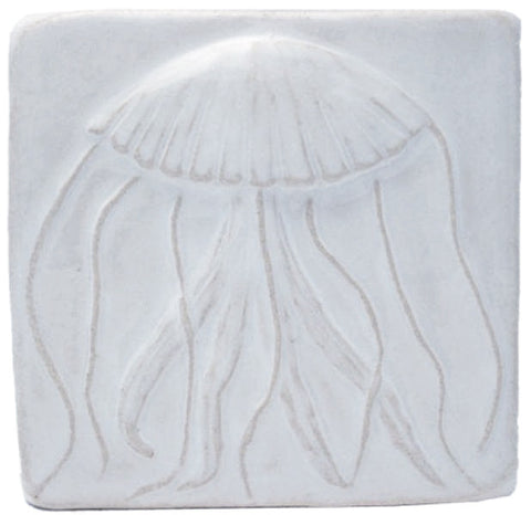 "Jellyfish 4""x4"" Ceramic Handmade Tile - White Glaze"