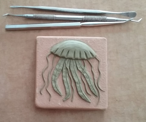 "jellyfish 3""x3"" Ceramic Handmade Tile - process photo"
