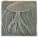 "Jellyfish 4""x4"" Ceramic Handmade Tile - Gray Glaze"