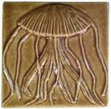 "Jellyfish 4""x4"" Ceramic Handmade Tile - Honey Glaze"