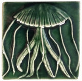 "Jellyfish 4""x4"" Ceramic Handmade Tile - Leaf Green Glaze"