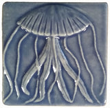 "Jellyfish 4""x4"" Ceramic Handmade Tile - Watercolor Blue Glaze"