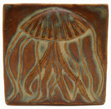 "Jellyfish 4""x4"" Ceramic Handmade Tile - Autumn Glaze"