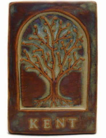 "Kent Ohio Tree Tile 4""x6"" Handmade Ceramic Art Tile"