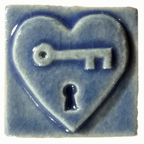 "Key to my Heart 2""x2"" Ceramic Handmade Tile - Watercolor Blue Glaze"
