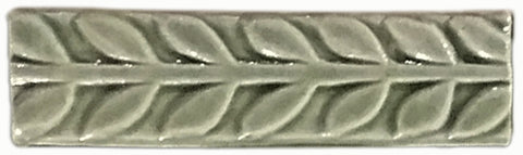 "Leaves 1""x4"" Border Ceramic Handmade Tile - Spearmint Glaze"