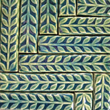 "Leaves 1""x6"" Border Ceramic Handmade Tile - Leaf Green Glaze grouping"