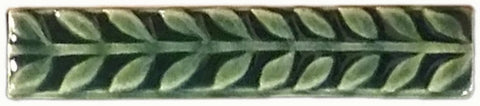 "Leaves 1""x6"" Border Ceramic Handmade Tile - Leaf Green Glaze"