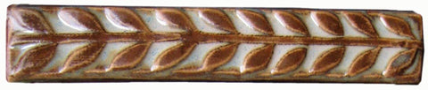 "Leaves 1""x6"" Border Ceramic Handmade Tile - Autumn Glaze"