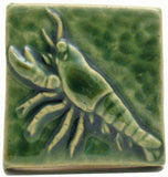 "Lobster 2""x2"" Ceramic Handmade Tile - Leaf Green Glaze"