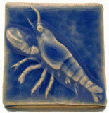 "Lobster 2""x2"" Ceramic Handmade Tile - Watercolor Blue Glaze"