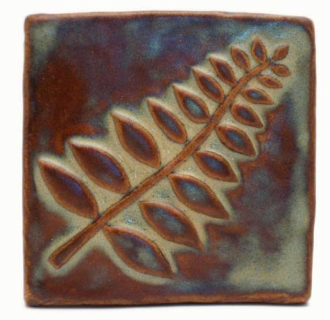 "Honey Locust 4""x4"" Ceramic Handmade Tile"