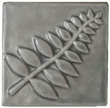 "Honey Locust 4""x4"" Ceramic Handmade Tile - Gray"