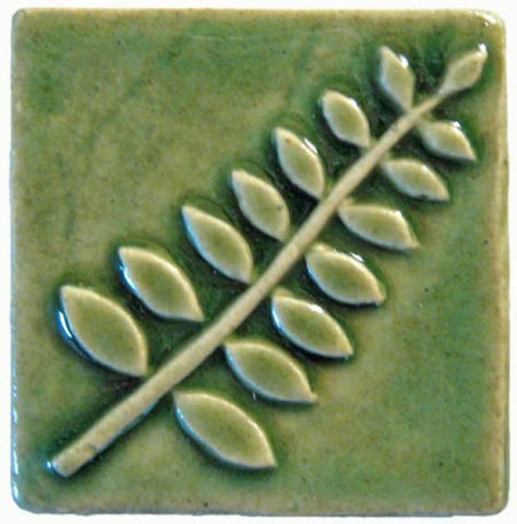 "Honey Locust 2""x2"" Ceramic Handmade Tile - Spearmint Glaze"
