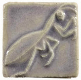 "Preying Mantis 2""x2"" Ceramic Handmade Tile - Hyacinth Glaze"