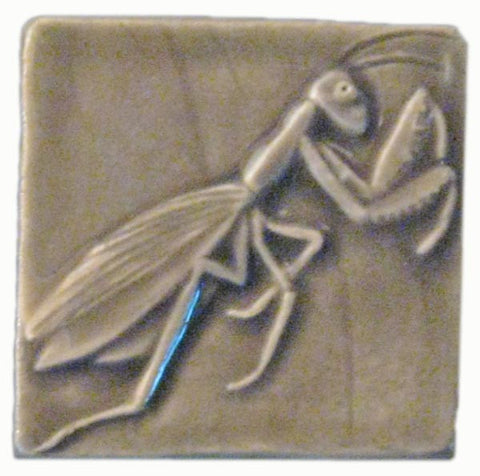 "Preying Mantis 3""x3"" Ceramic Handmade Tile - Gray Glaze"