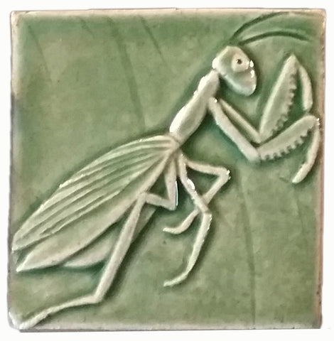 "Praying Mantis 3""x3"" Ceramic Handmade Tile - Spearmint Glaze"