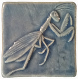 "Praying Mantis 3""x3"" Ceramic Handmade Tile - Watercolor Blue Glaze"