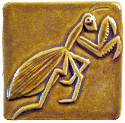 "Preying Mantis 4""x4"" Ceramic Handmade Tile - Honey Glaze"