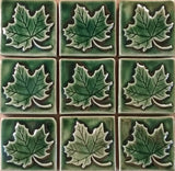 "Maple Leaf 3""x3"" Ceramic Handmade Tile - Leaf Green Glaze Grouping"