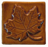 "Maple Leaf 3""x3"" Ceramic Handmade Tile - Honey Glaze"
