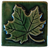 "Maple Leaf 3""x3"" Ceramic Handmade Tile - Leaf Green Glaze"
