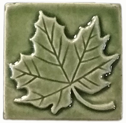 "Maple Leaf 3""x3"" Ceramic Handmade Tile - Spearmint Glaze"