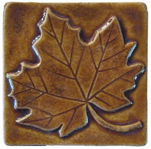 "Maple Leaf 4""x4"" Ceramic Handmade Tile - Honey Glaze"