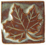"Maple Leaf 2""x2"" Ceramic Handmade Tile - Autumn Glaze"