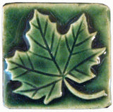 "Maple Leaf 2""x2"" Ceramic Handmade Tile - Leaf Green Glaze"