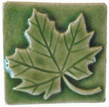 "Maple Leaf 2""x2"" Ceramic Handmade Tile - Spearmint Glaze"