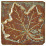 "Maple Leaf 4""x4"" Ceramic Handmade Tile - Autumn Glaze"