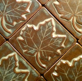 "Maple Leaf 4""x4"" Ceramic Handmade Tile - Grouping"