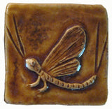 "Mayfly 2""x2"" Ceramic Handmade Tile - Honey Glaze"