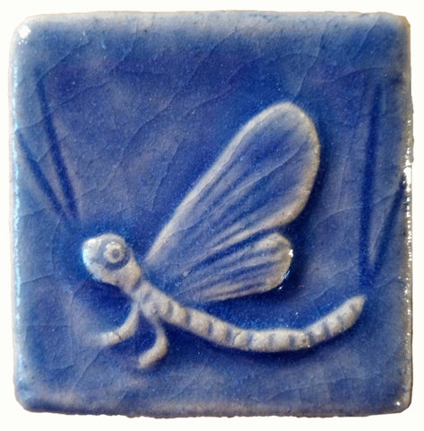 "Mayfly 2""x2"" Ceramic Handmade Tile - Watercolor Blue Glaze"
