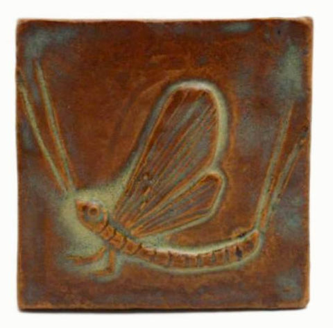 "Mayfly 3""x3"" Ceramic Handmade Tile - Autumn Glaze"