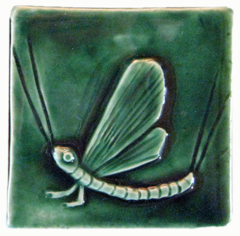 "Mayfly 3""x3"" Ceramic Handmade Tile - Leaf Green Glaze"