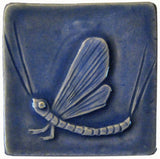 "Mayfly 3""x3"" Ceramic Handmade Tile - Watercolor Blue Glaze"