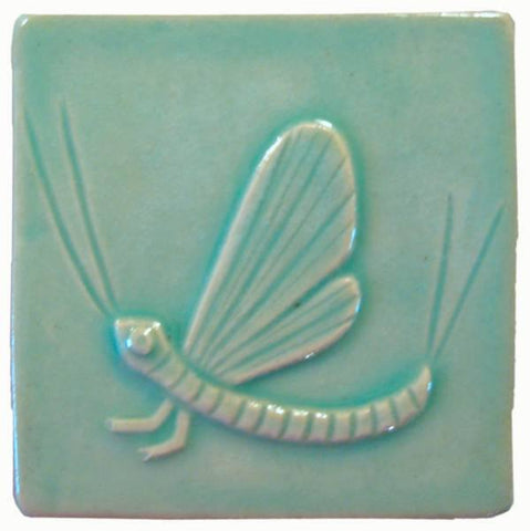 "Mayfly 4""x4"" Ceramic Handmade Tile - Pacific Blue Glaze"