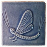 "Mayfly 4""x4"" Ceramic Handmade Tile - Watercolor Blue Glaze"