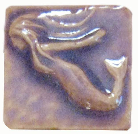 "Mermaid 2""x2"" Ceramic Handmade Tile - Hyacinth Glaze"